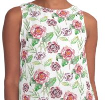 Watercolor summer vintage pattern with floral theme Contrast Tank