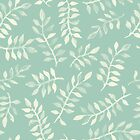 Painted Leaves - a pattern in cream on soft mint green by micklyn
