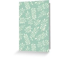 Painted Leaves - a pattern in cream on soft mint green Greeting Card