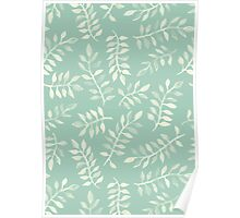 Painted Leaves - a pattern in cream on soft mint green Poster