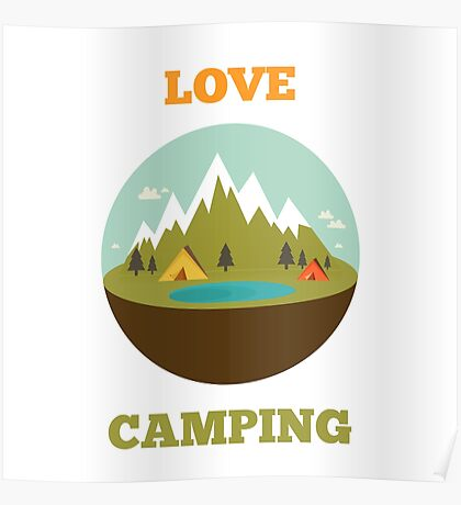 Camping badge/label design Poster