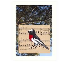 Woodland Whispers - Scarlet Robin Art Print