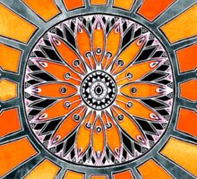 Celebrating the 70's - tangerine orange watercolor on grey Sticker