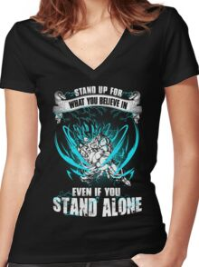 The DragonBall - Even If You Stand Alone Women's Fitted V-Neck T-Shirt
