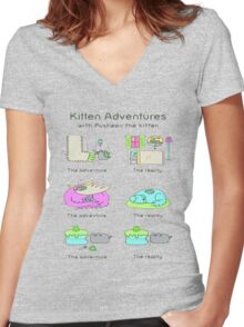 pussies adventure Women's Fitted V-Neck T-Shirt
