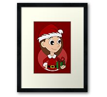 Christmas girl cartoon Framed Print