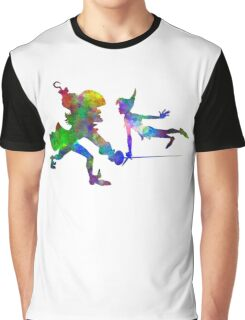 Peter Pan and Captain Hook in watercolor Graphic T-Shirt