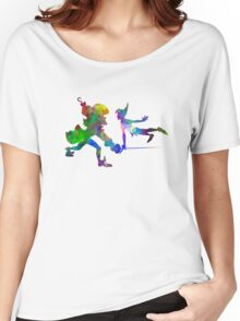 Peter Pan and Captain Hook in watercolor Women's Relaxed Fit T-Shirt