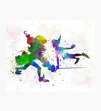 Peter Pan and Captain Hook in watercolor Photographic Print