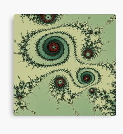Weird Mustard - green fracttal design Canvas Print