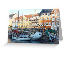 Activity On Nyhavn Harbour Greeting Card