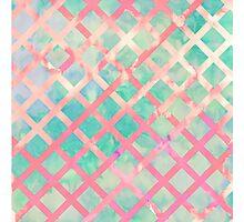 Girly Retro Turquoise Pink Watercolor Lattice Photographic Print