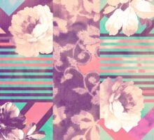 Retro Pink turquoise Floral Stripe Chevron Pattern Sticker