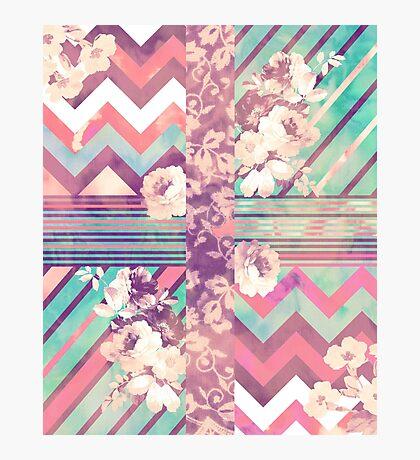 Retro Pink turquoise Floral Stripe Chevron Pattern Photographic Print