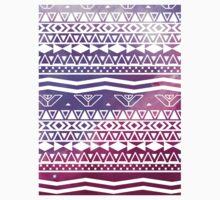 Trendy White Aztec Pattern Purple Nebula Space Kids Tee