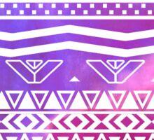 Trendy White Aztec Pattern Purple Nebula Space Sticker