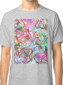 Abstract Girly Neon Rainbow Paisley Sketch Pattern Classic T-Shirt