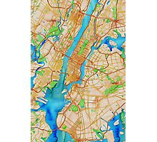 New York City Oily Watercolor Map Photographic Print