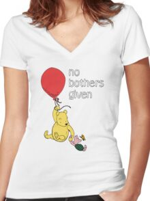 Winnie the Pooh + Piglet - No Bothers Given Women's Fitted V-Neck T-Shirt