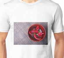 Top view of hot red chili peppers in a brown wooden bowl Unisex T-Shirt