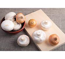 Raw champignon mushrooms and onions Photographic Print