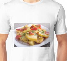 Vegetarian dish of stewed potatoes and bell peppers Unisex T-Shirt