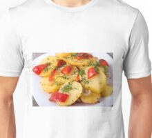 Closeup view of a vegetarian dish of natural ingredients Unisex T-Shirt
