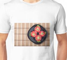 View from above on a dish with fresh sliced tomatoes, lettuce and onion Unisex T-Shirt