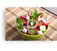 Green bowl with tasty and wholesome vegetarian meal Canvas Print