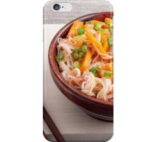 Closeup Asian dish of rice noodles and vegetable sauce iPhone Case/Skin