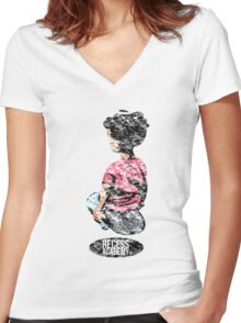 Recess Academy ® Hover Boy ULTRA Weathered Women's Fitted V-Neck T-Shirt