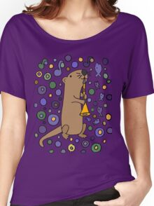 Funky Cool Sea Otter Playing Clarinet Art Women's Relaxed Fit T-Shirt
