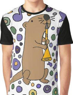 Funky Cool Sea Otter Playing Clarinet Art Graphic T-Shirt
