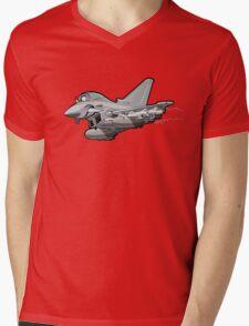 Cartoon Fighter Plane Mens V-Neck T-Shirt