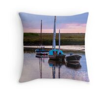 Boats Evening Mooring- British Coast And Beach  Throw Pillow
