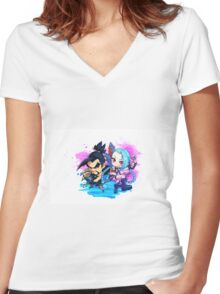 Overwatch And League of Legends,Hanzo and Jinx Women's Fitted V-Neck T-Shirt