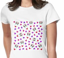Funny Girly Pink Red Smiley Face and Lips Pattern Womens Fitted T-Shirt
