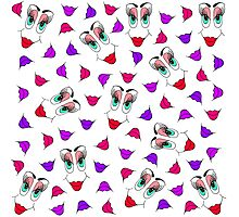 Funny Girly Pink Red Smiley Face and Lips Pattern Photographic Print