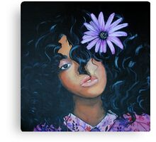 She Wore Purple Flowers In Her Hair Canvas Print