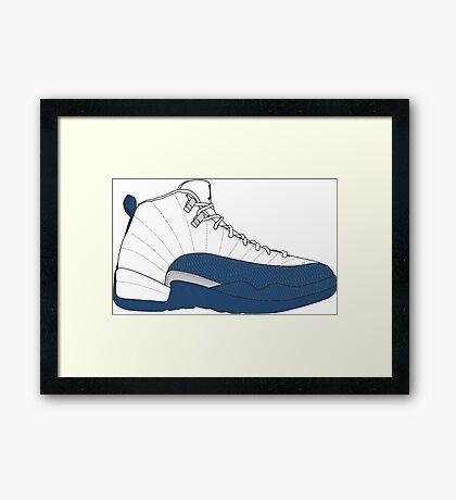 "Air Jordan XII (12) ""French  Blue"" Framed Print"