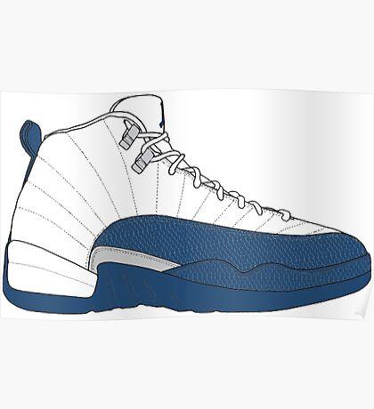 "Air Jordan XII (12) ""French  Blue"" Poster"