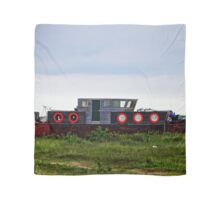 Boat With Red Round Windows - British Coast And Beach  Scarf