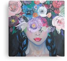 Her Thoughts Burst and Bloomed Canvas Print