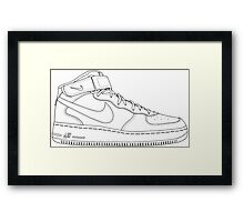 "Nike Air Force One Mid/High ""All White"" Framed Print"