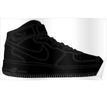 "Nike Air Force One Mid/High ""All Black"" Poster"
