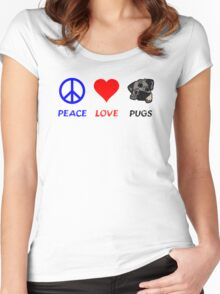 Peace Love Pugs Women's Fitted Scoop T-Shirt