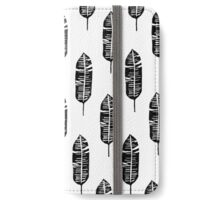 Banana leaf, lino cut printed pattern, nature inspired, handmade, black and white iPhone Wallet/Case/Skin