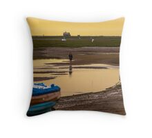 Yellow Sky and Blue Boat - British Coast And Beach  Throw Pillow