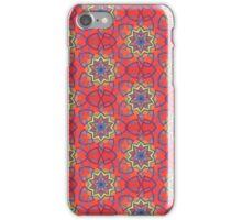 Yellow stars - blue links - red-orange background iPhone Case/Skin