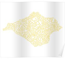 Mellow Yellow Isle of Wight map Poster